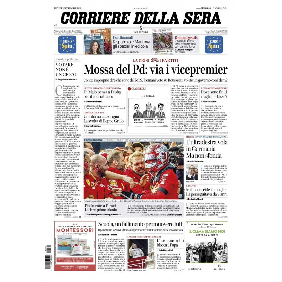 CORRIERE DELLA SERA - 02 Settembre 2019