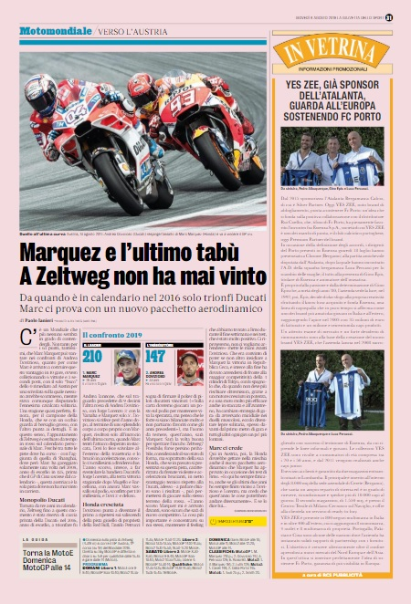 GAZZETTA DELLO SPORT - 08 Agosto 2019